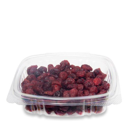 contenedor transparente compostable con bisagras de 0.23 litros