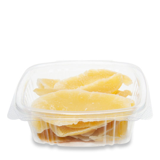 contenedor transparente compostable con bisagras de 0.35 litros