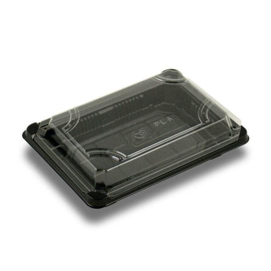 bandeja para sushi con tapa 100% biodegradable y compostable