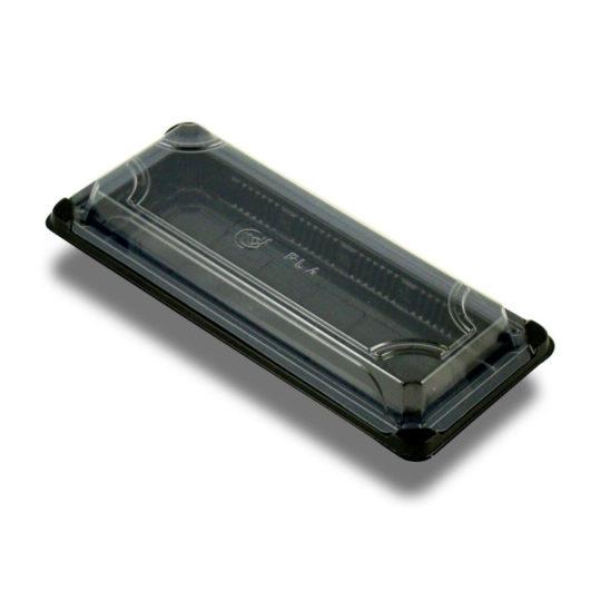 bandeja de sushi compostable con tapa de 23 cm